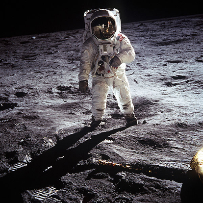 Buzz Aldrin poses on the Moon allowing Neil Armstrong to photograph both of them using the visor's reflection