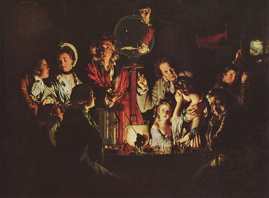 This painting, An Experiment on a Bird in the Air Pump by Joseph Wright of Derby, 1768, depicts an experiment performed by Robert Boyle in 1660.