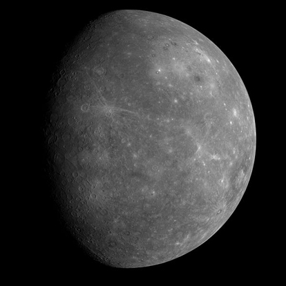 MESSENGER's first image of the side of Mercury which was never seen by Mariner 10, from a distance of about 17,000 miles (27,000 km)