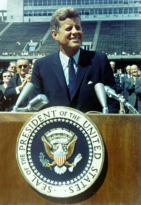 President John F. Kennedy delivers a speech at Rice University on the subject of the American space program, September 12, 1962.