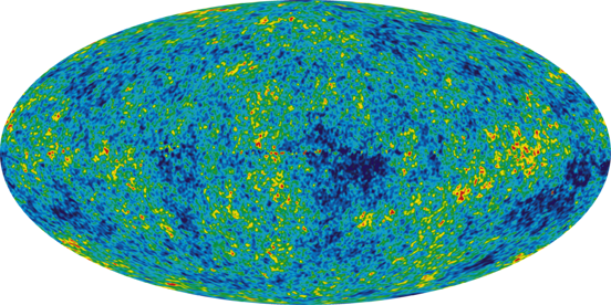 5 year WMAP image of background cosmic radiation (2008)