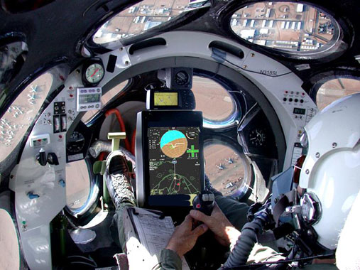 Cockpit of White Knight while in flight.