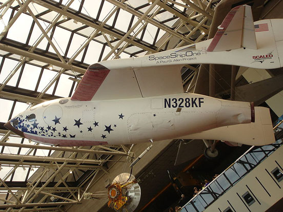 SpaceShipOne now hangs in the National Air and Space Museum in Washington D.C.