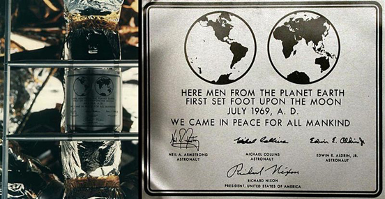 The historical plaque on the ladder of Apollo 11's lunar module