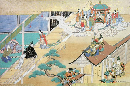 Kaguya-hime returning to the Moon in The Tale of the Bamboo Cutter