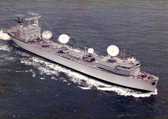 Vanguard (T-AGM-19) seen here as a NASA Skylab tracking ship. Note the SatCom tracking radar and telemetry antennas.