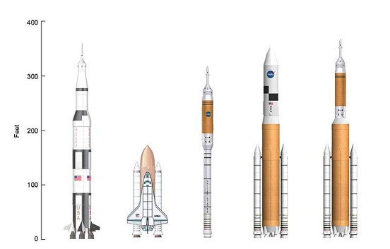 A Saturn V, Space Shuttle, and three Ares rockets