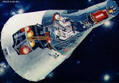 A cutaway of the Project Gemini spacecraft